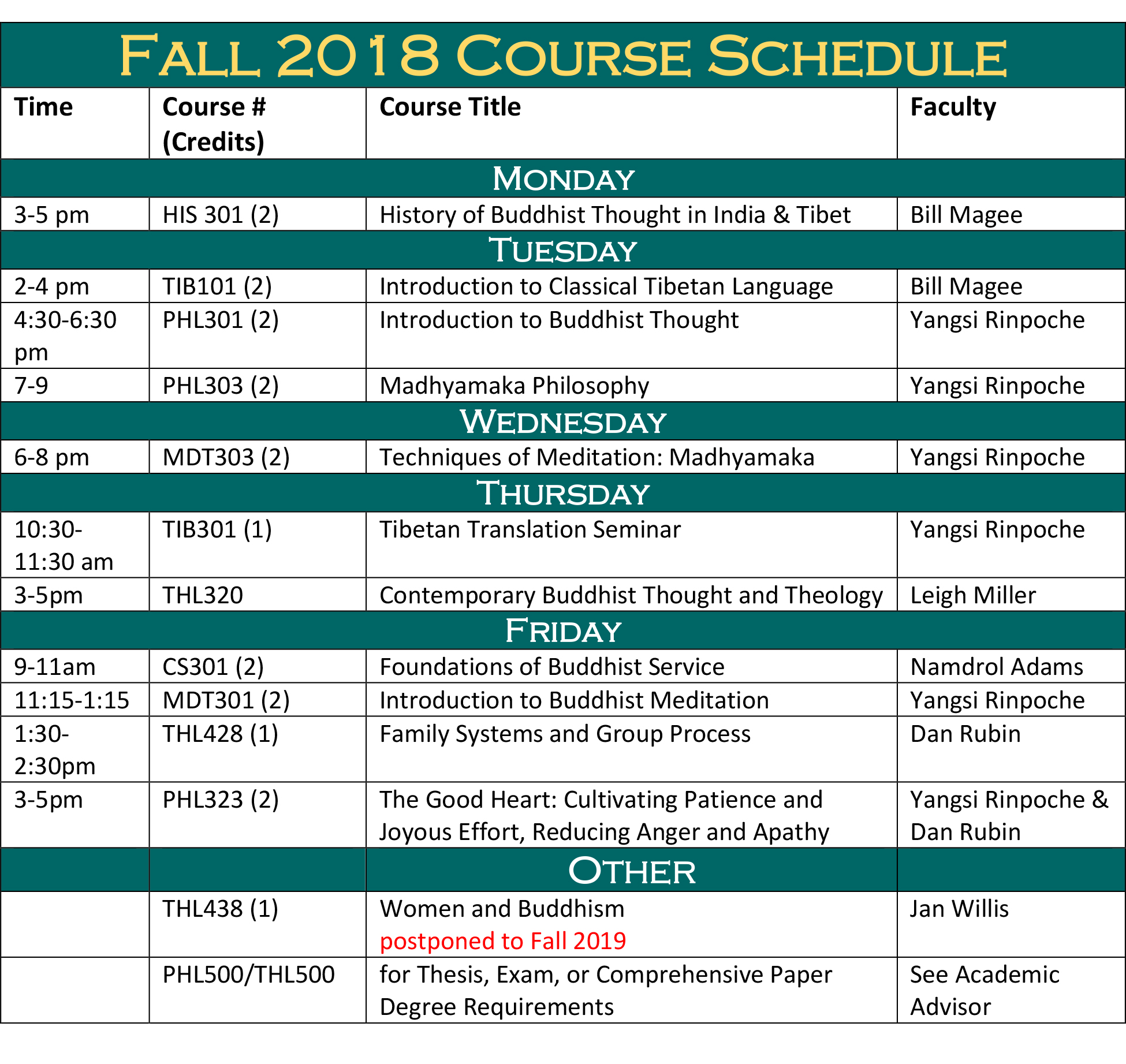 schedule fall college course courses enrollment